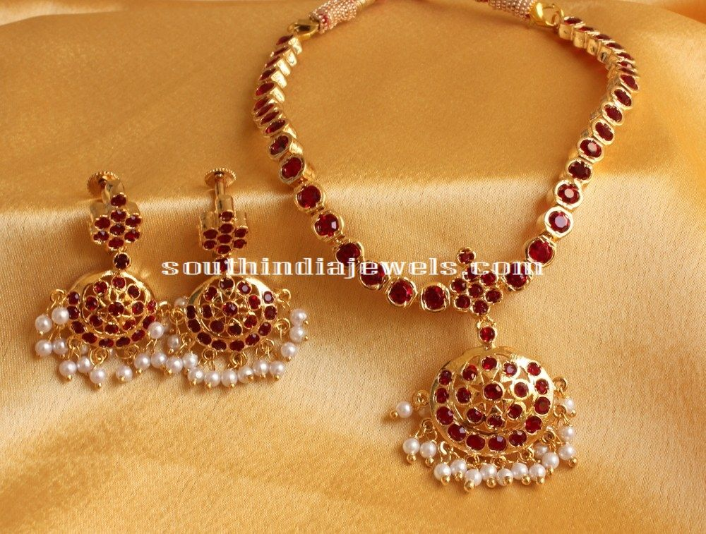 203f709f527e9 Imitation Red stone Attigai | Necklace Collections | Jewelry, Indian ...