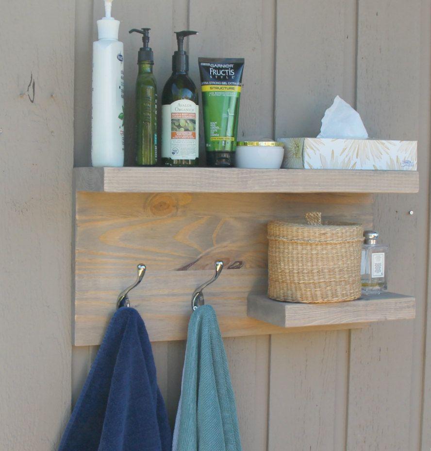 2 Tier Floating Shelf, Rustic Modern Bathroom, Towel Rack, Bronze Robe Hooks U2026