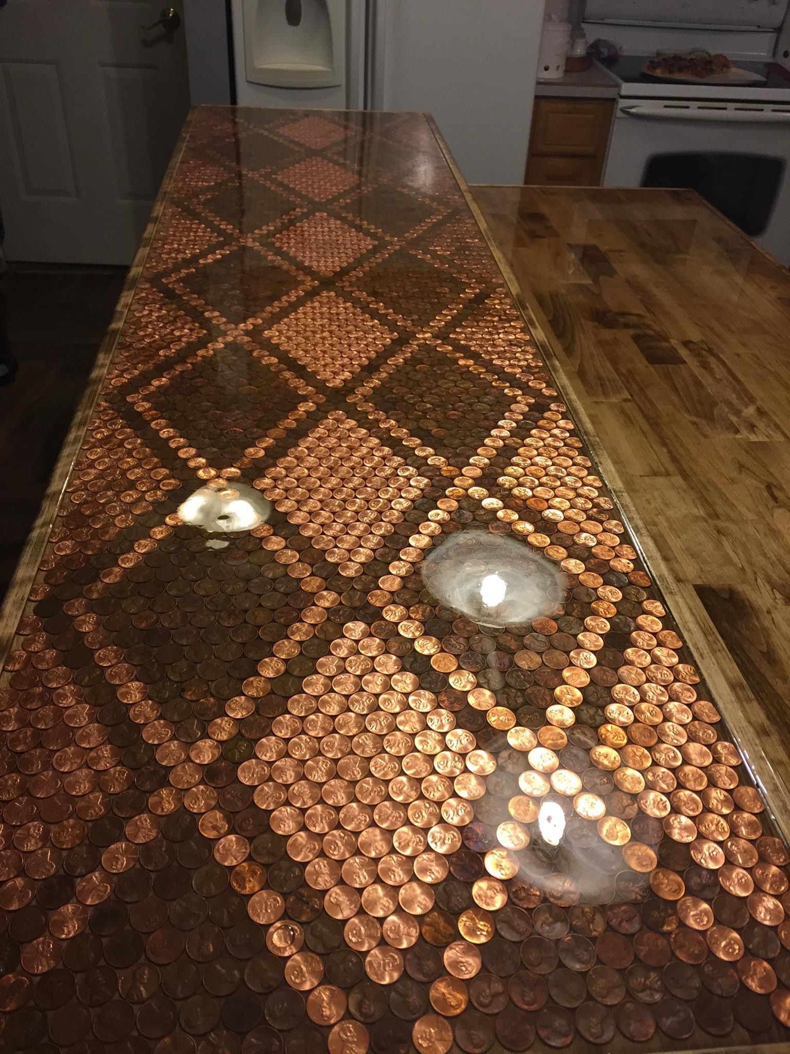 Penny countertop | Epoxy table top, Penny table tops ...