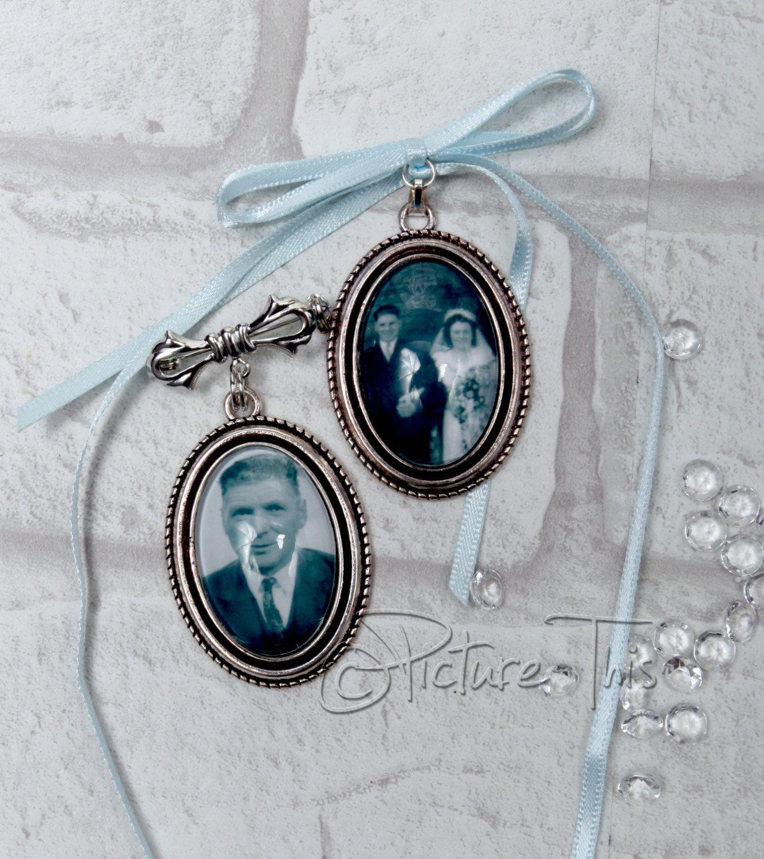 bridal flowers Double Frame Bouquet Memory Charm photo buttonhole memorial