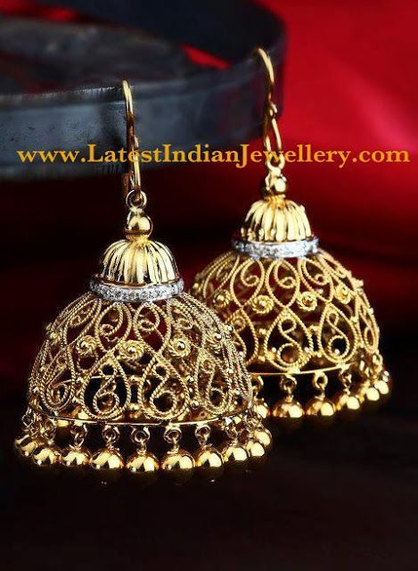 Stylish Golden Chandelier Earrings Latest Indian Jewellery Designs