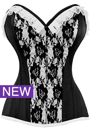 The Violet Vixen - Laced Rose Widow Black Corset, $99.00 (http://thevioletvixen.com/corsets/classic-overbust-corset-with-centre-lace-overlay-and-lace-trim-1533/) floral lace black and white victorian vintage corset steel boned