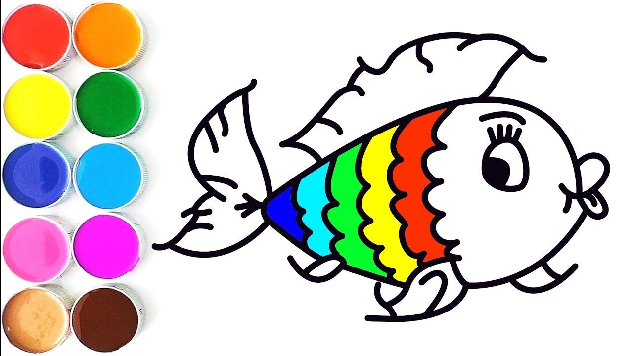 how to draw baby fish for kids  fun coloring for kids