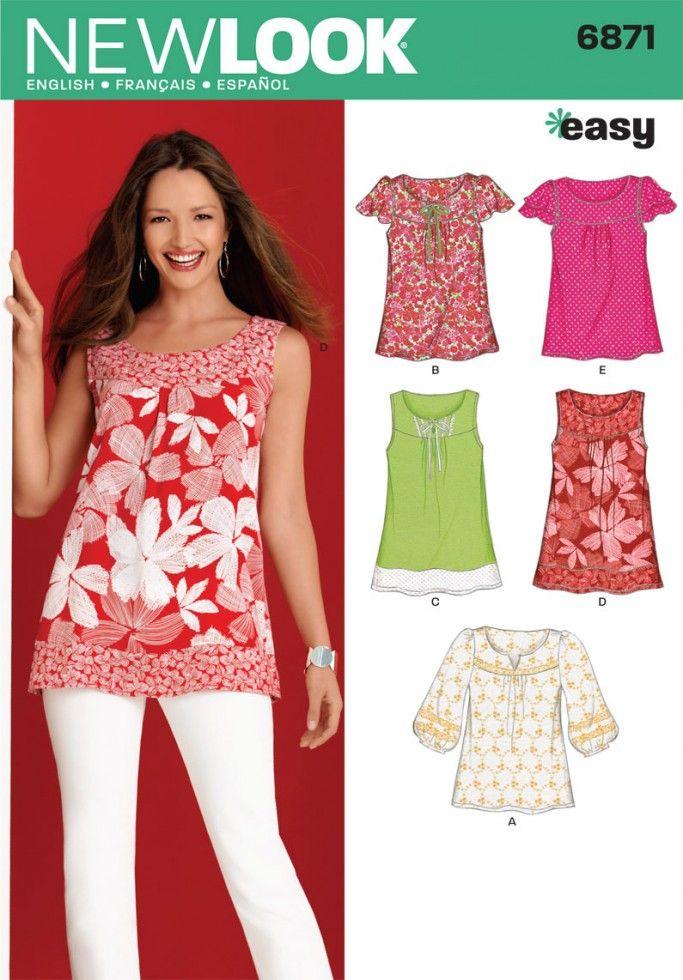 New Look Ladies Easy Sewing Pattern 6871 Summer Tops Blouses