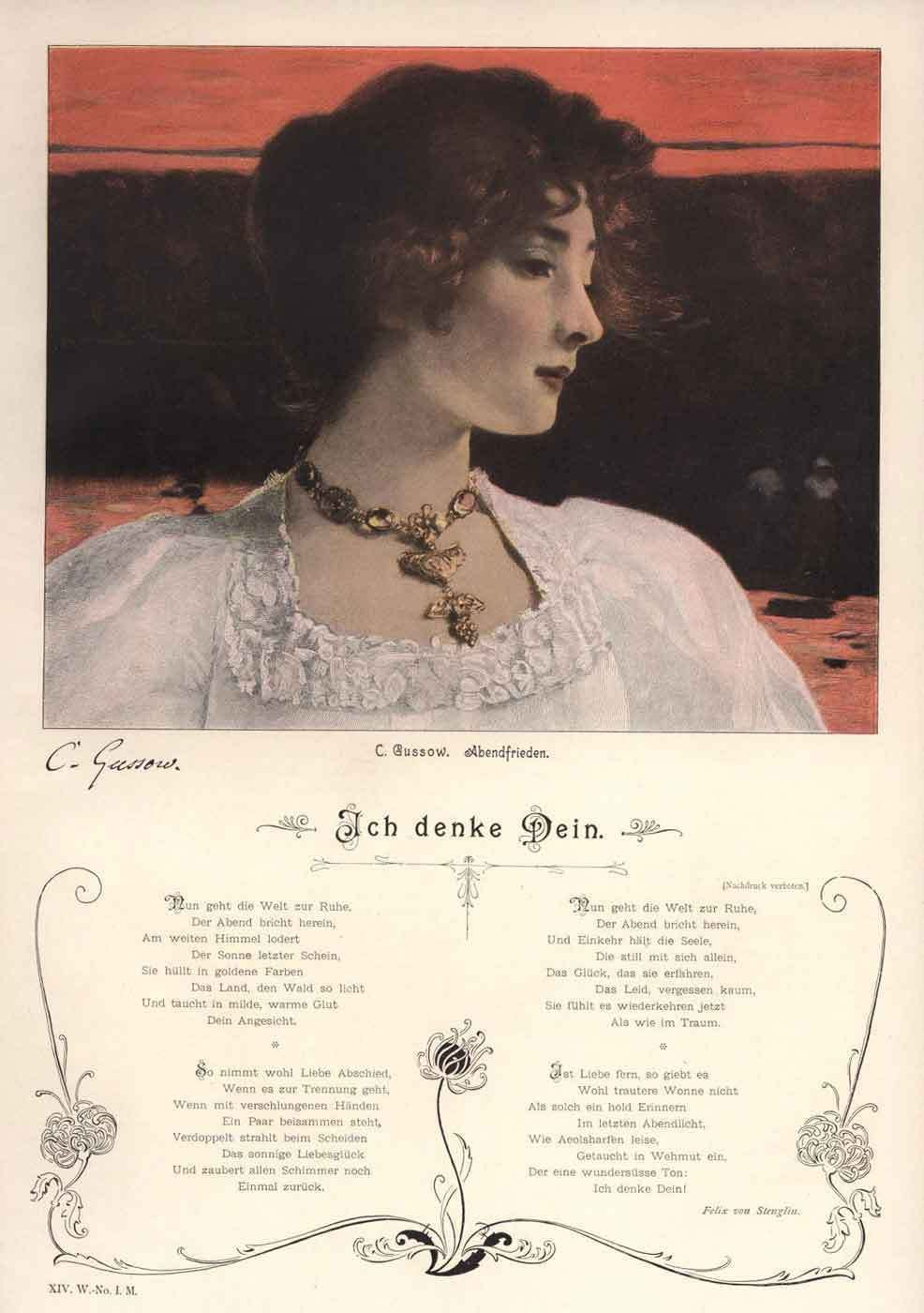 C1900 Color Art Print Beautiful Girl White Blouse Stenglin S Poem