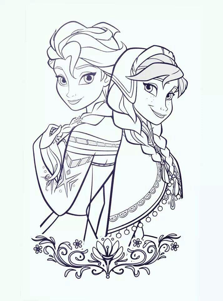 Sisters Princesa Para Pintar Dibujos Animados Para Dibujar Frozen Para Pintar