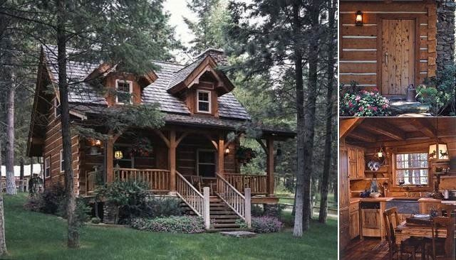Cozy Log Cabin With Charming Interior Cozy Homes Life Small Log Cabin Plans Log Cabin Plans Small Log Cabin