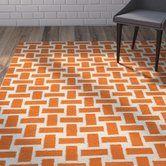 Hagler Hand Woven Flatweave Wool Orange Rug Orange Area Rug Rugs Orange Rugs