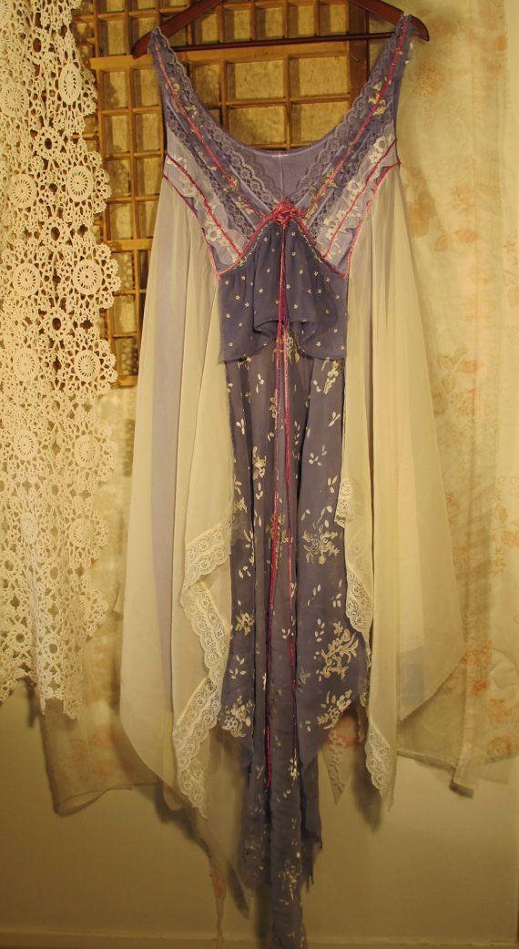 Blue dreams Plus size shabby chic vintage slip dress by MollaMaia, €79.00