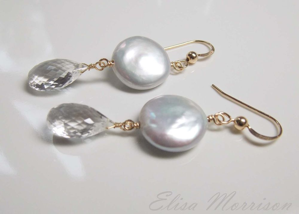 SILVER COIN PEARL AAA CRYSTAL QUARTZ FACETED GEM STONE 14k GOLD FILLED EARRINGS #Dangle