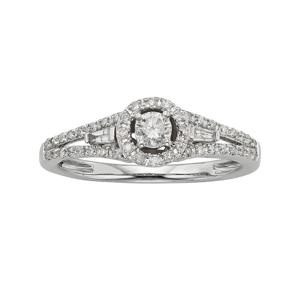 Diamond Halo Engagement Ring in 10k White Gold (3/8 ct. T.W.), Women's, Size: 7.50