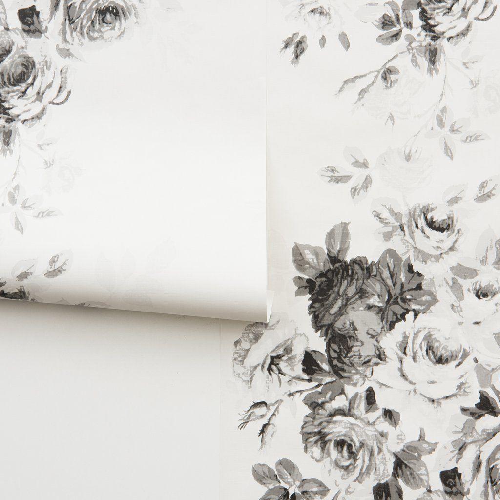 Black Tea Rose On White Wallpaper Rose Wallpaper Joanna Gaines Wallpaper Farmhouse Wallpaper