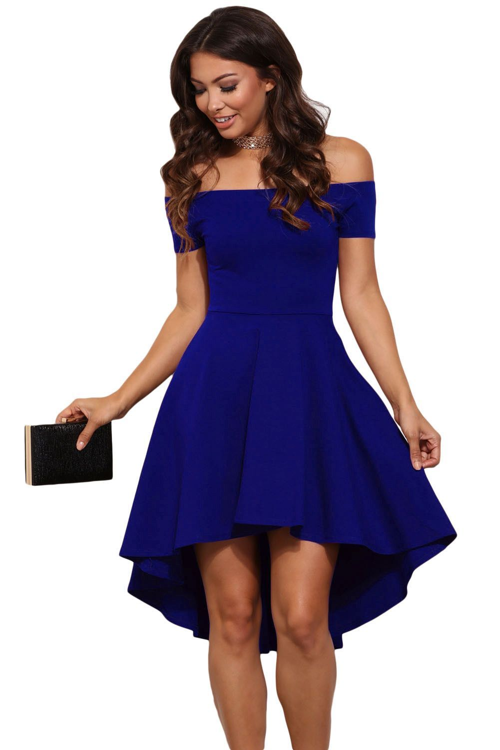 7d2b4699730d Sidefeel Women Off Shoulder Short Sleeve High Low Skater Dress Small Blue  at Amazon Women s Clothing