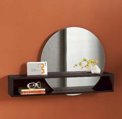 Disc Wall Mounted Shelf Round Mirror Combo Mirror With Shelf
