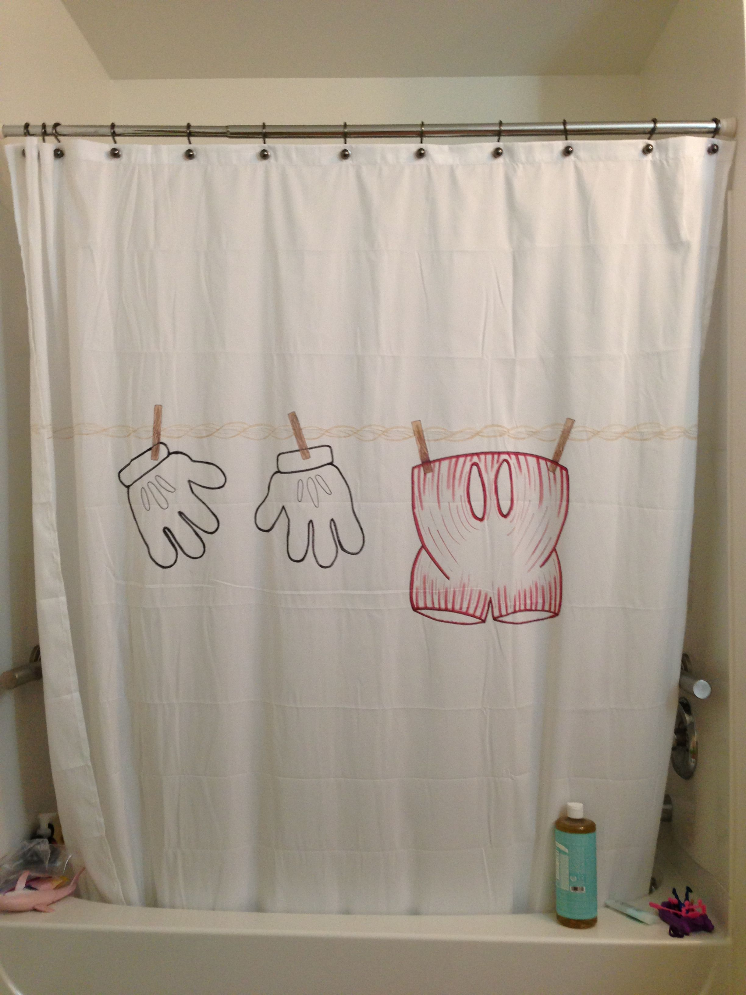 Sharpie And A Microfiber Shower Curtain For My Kids Mickey