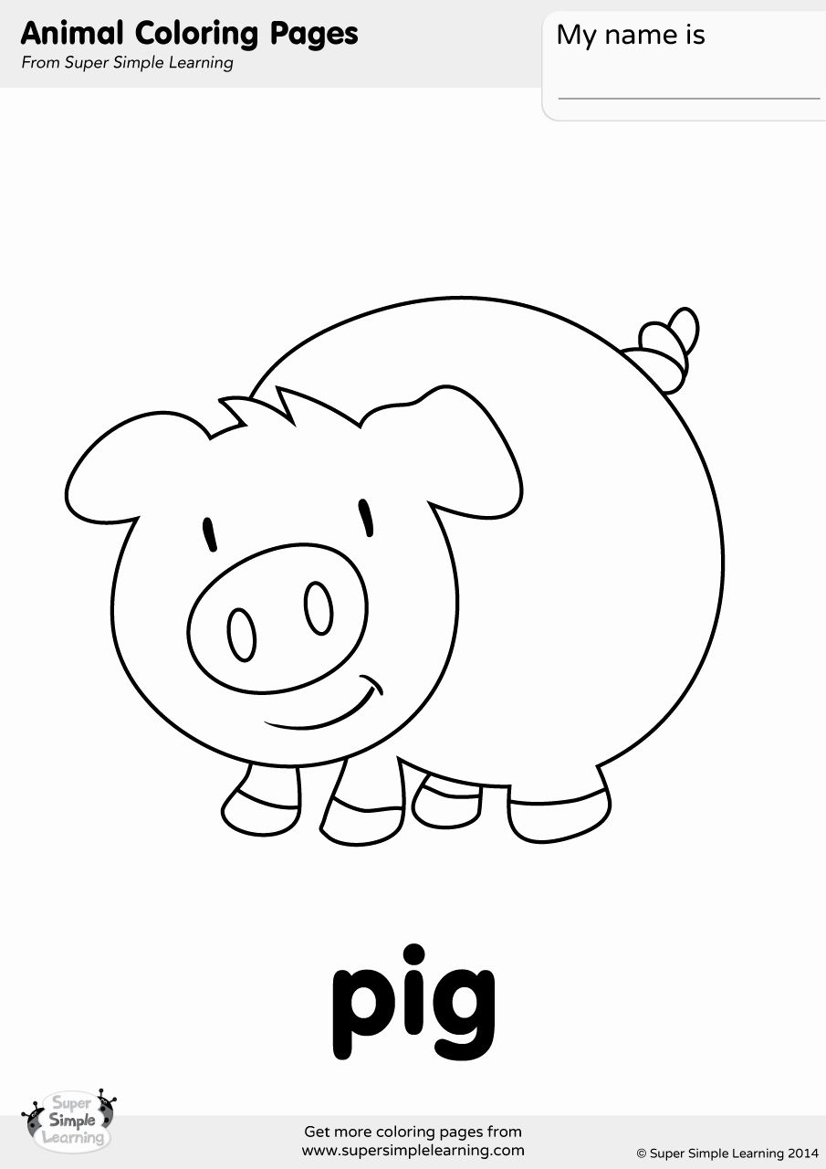 Coloring Animals With Name Awesome Pig Coloring Page Super Simple In 2020 Farm Animal Coloring Pages Kindergarten Coloring Pages Peppa Pig Coloring Pages