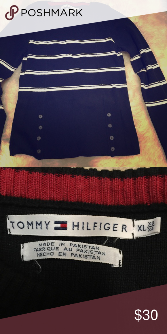 Tommy Hilfiger sweater TH sweater has button details on front, very cute, gently worn Tommy Hilfiger Sweaters Cardigans