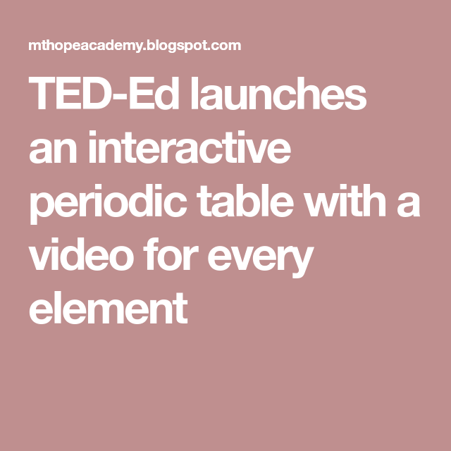 Ted ed launches an interactive periodic table with a video for every ted ed launches an interactive periodic table with a video for every element urtaz Gallery