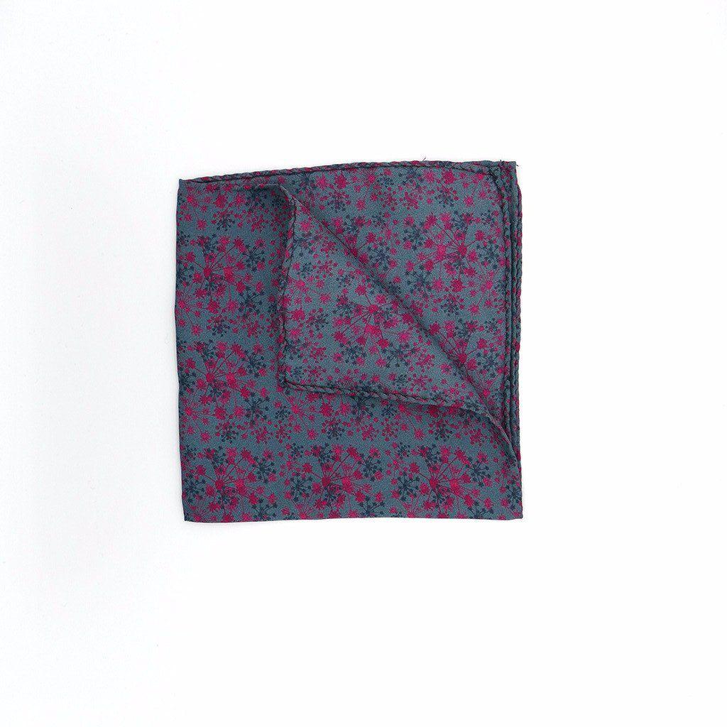 Pink Fennel Tangle Silk Pocket Square