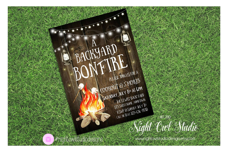 Bonfire Party Invitation, Backyard Bonfire, Summer Bonfire, BBQ ...