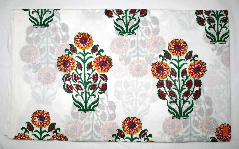 Cotton Hand Block Print Print Cloth New Floral Print Fabric For