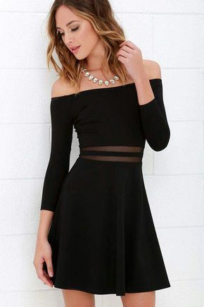 Yes to the Mesh Black Skater Dress  c32c4a2b3