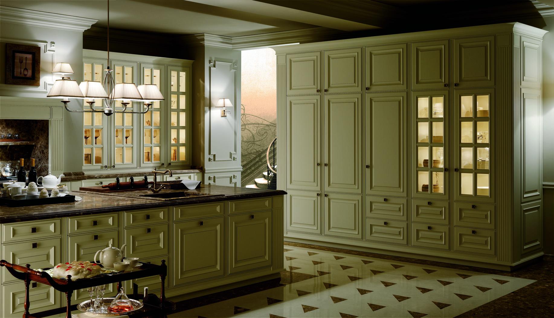 Cocina clásica de lujo con tiradores. Isla con encimera de mármol de ...