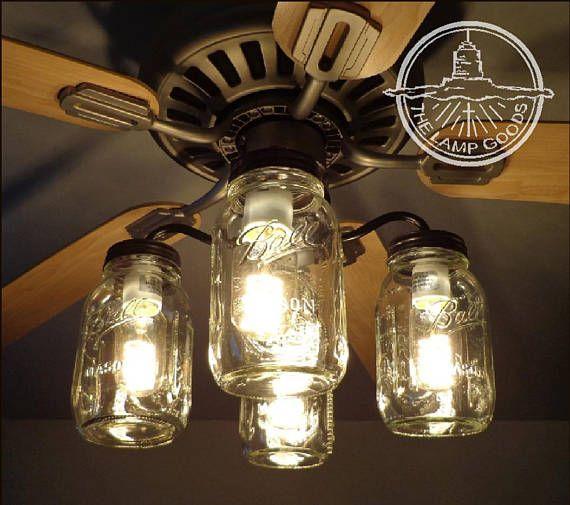 Flush Mount Ceiling Light Mason Jar FAN Light KIT Only with New ...