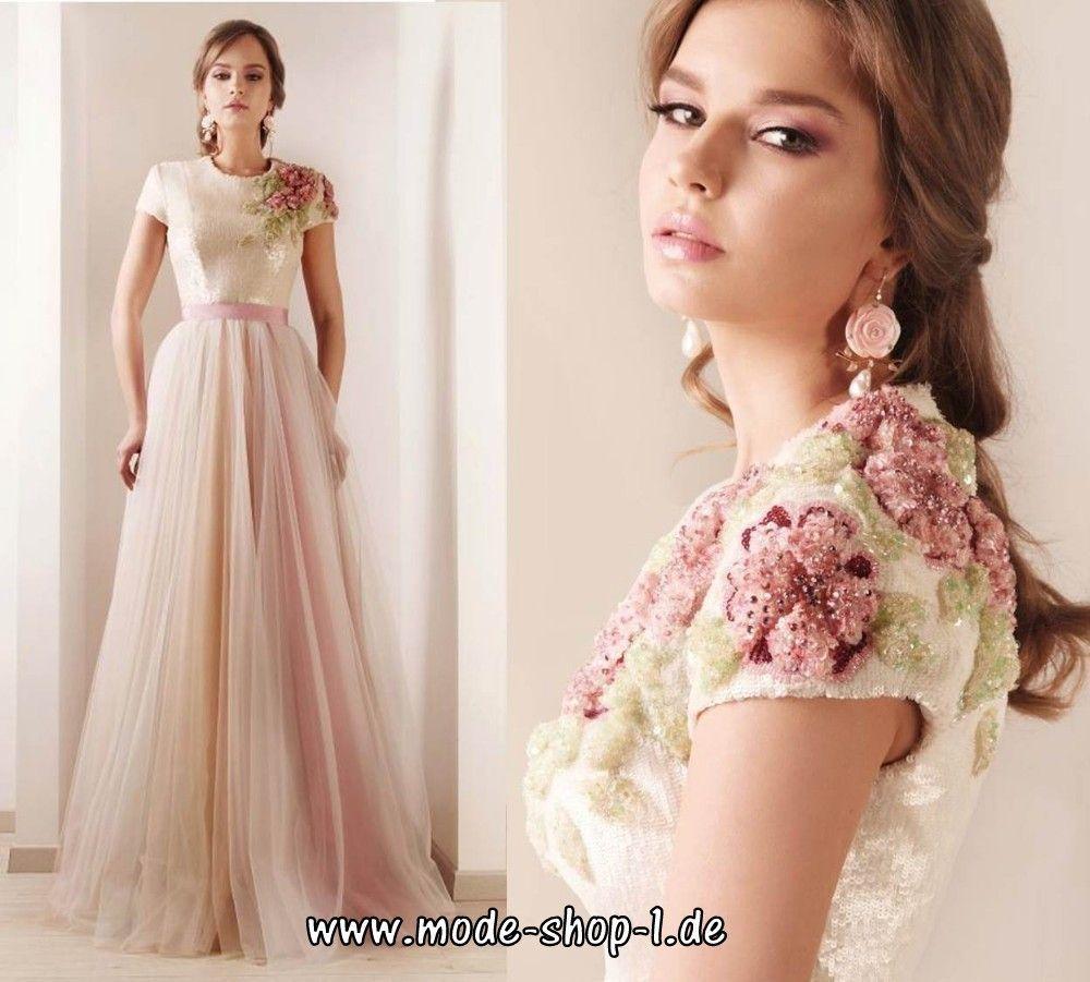 Abendmode / Kurzarm Abendkleid mit Blumen #abendkleid #abendmode
