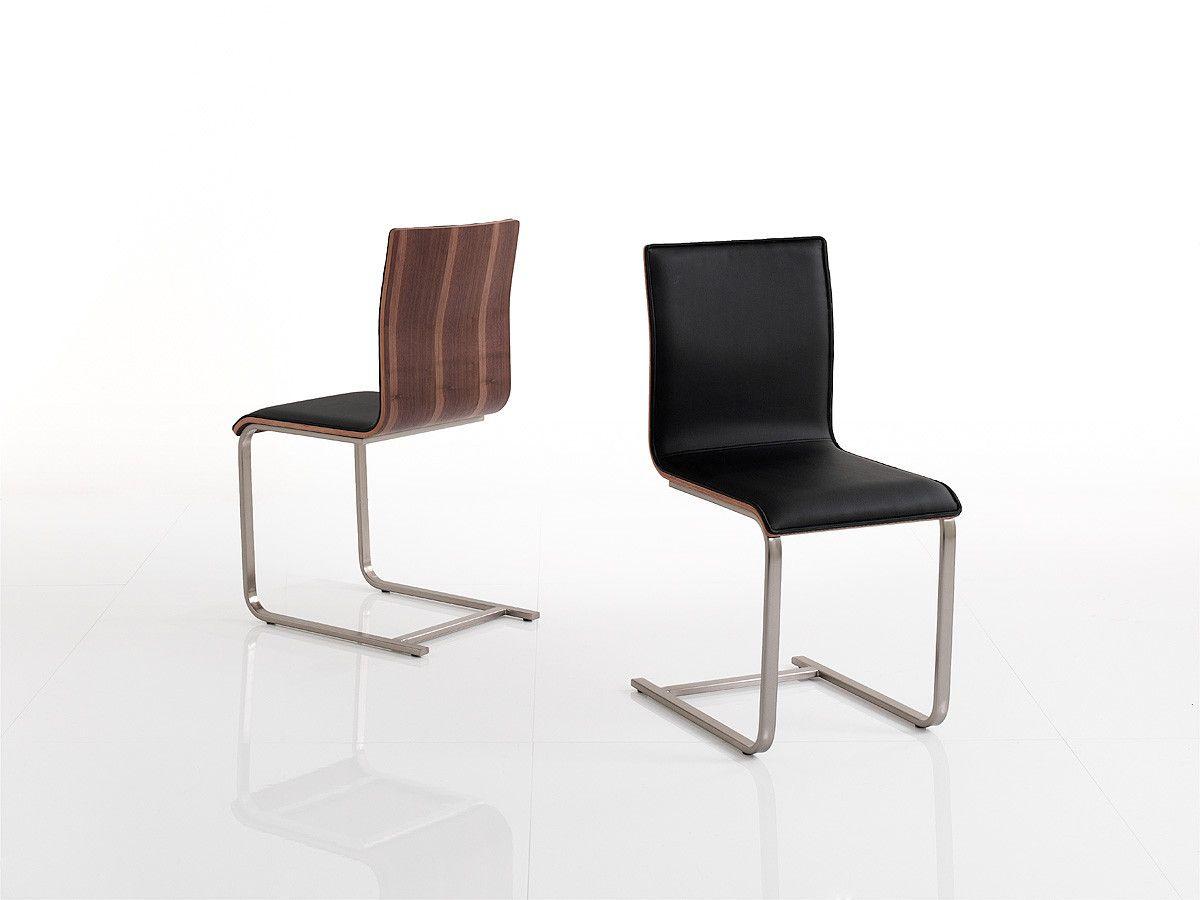 Stühle modern esszimmer schwarz  4er Set Schwinger Walnuss Furniert/ Kunstleder Schwarz Mca ...