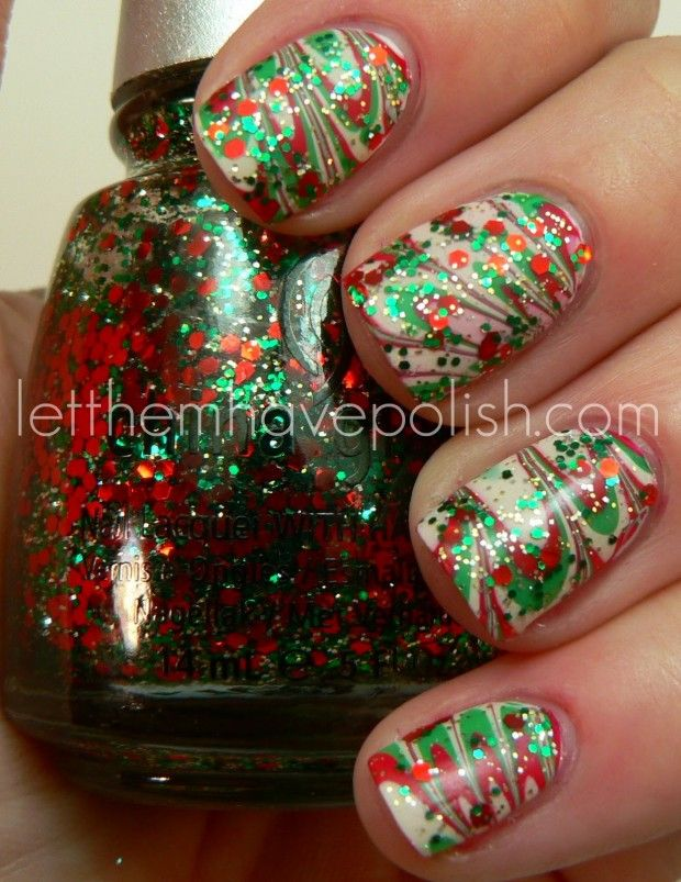 23 Amazing Christmas Nail Design Ideas | Water marble nails, Marble ...
