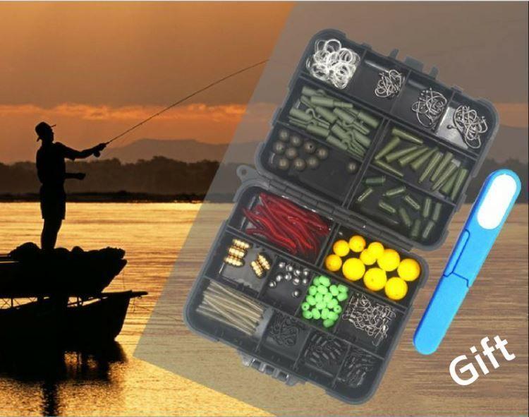 160PCS Fishing Accessories Set Jig Hooks Sinker Swivel Bead Fish Terminal Tackle