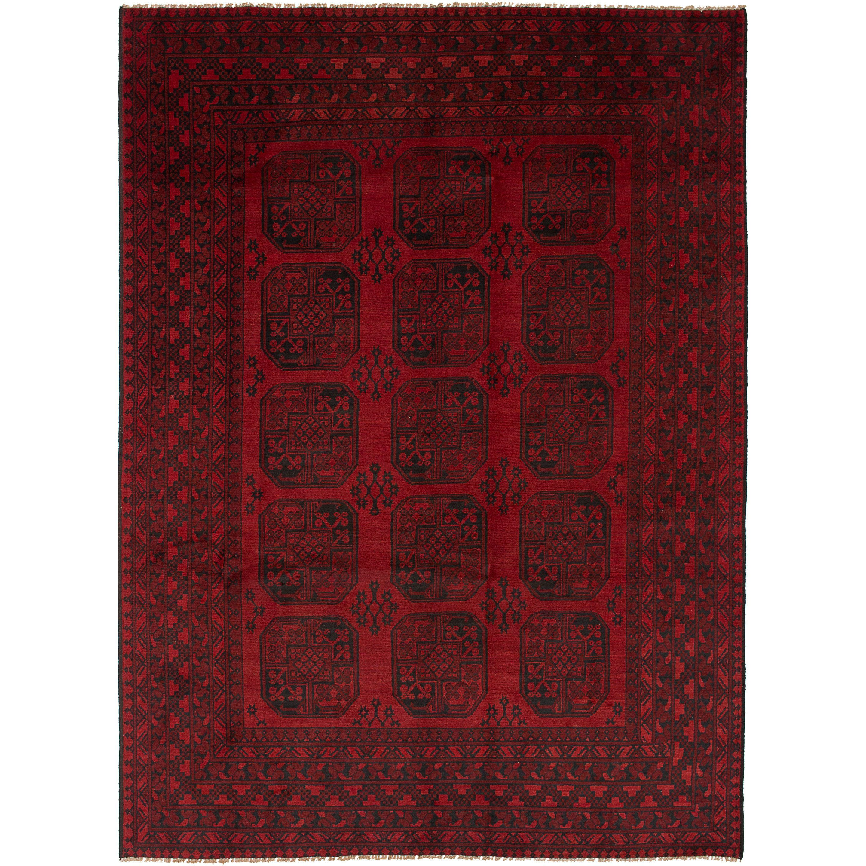 eCarpetGallery Hand-Knotted Khal Mohammadi Red Wool Rug (6'5 x 9'0) (Red Rug (6' x 9')), Size 6' x 9' (Cotton, Border)