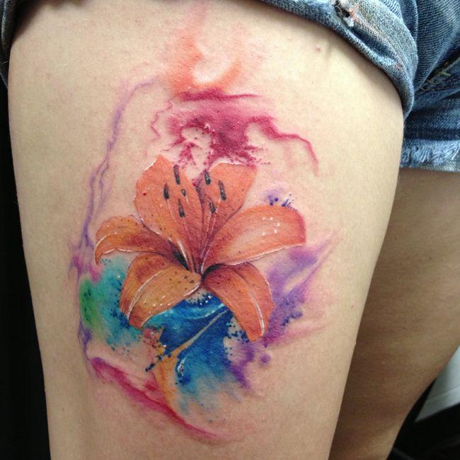 tiger lily watercolor tattoo | Tattoo | Pinterest ...