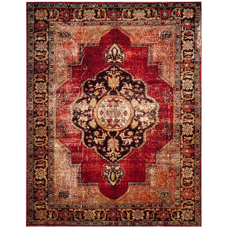 Fitzpatrick Oriental Red Golden Black Area Rug In 2020 Black Area Rugs Area Rugs Persian Area Rugs