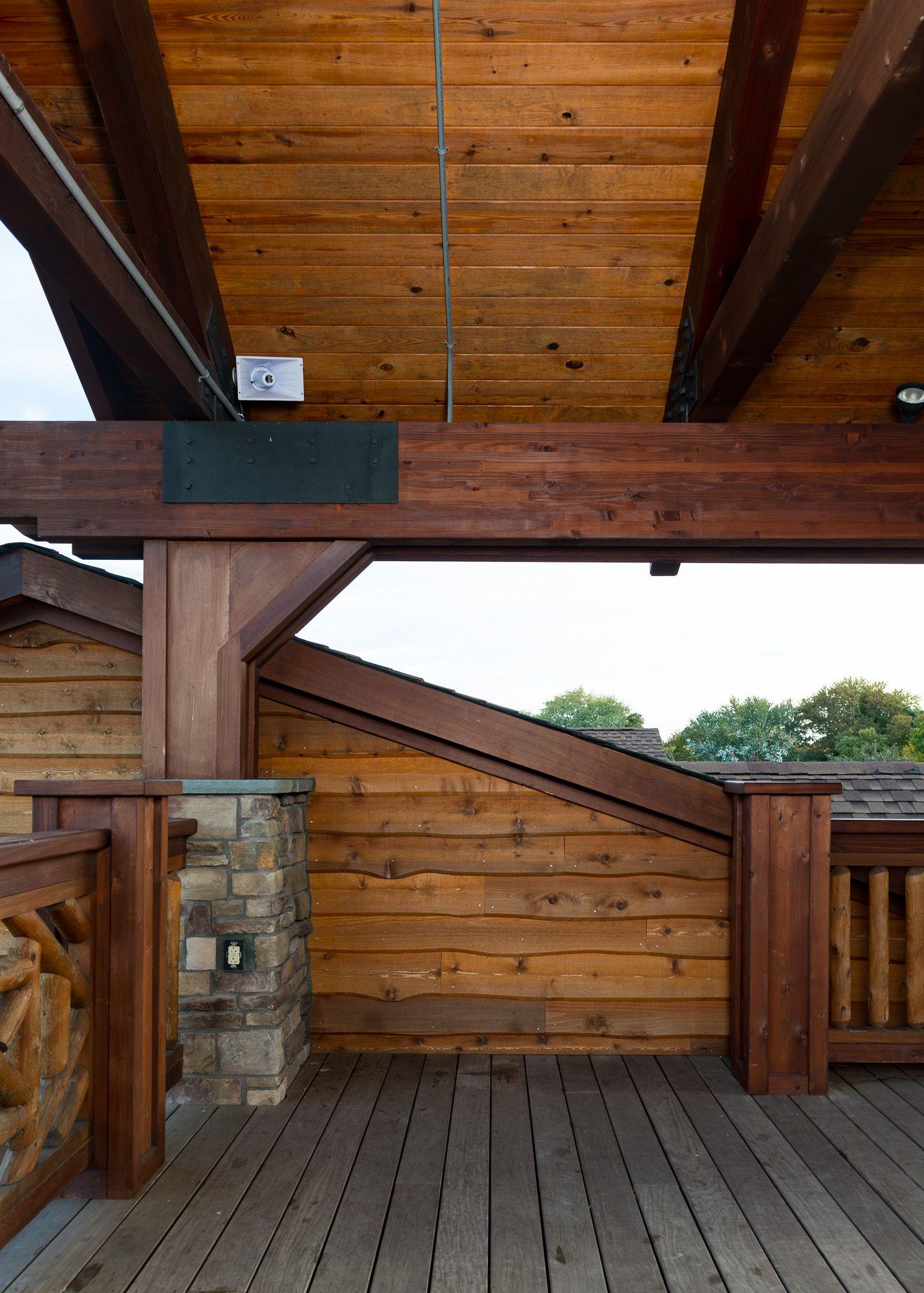 Park Center Wrapped In Our Wavy Edge Bevel Cedar Siding In 2020 Cedar Siding Patio Art Cedar Lumber