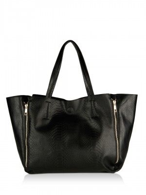 KOOVS Textured Double Zip Large Tote Bag | Bags Online for Womens ...