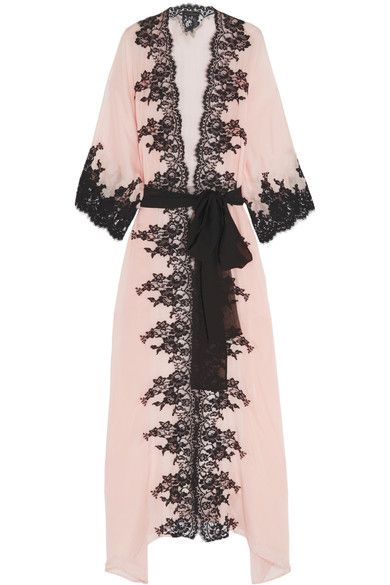 Shoptagr | Classica Bellezza Chantilly Lace Trimmed Silk Georgette Robe by Rosamosario #fashion #trend #outfit #onlineshop #shoptagr
