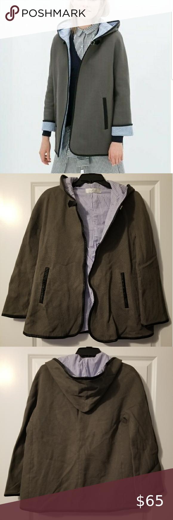 Zara Trafaluc Jacket Zara Trafaluc Hooded Jacket In A Size Medium Cape Style With A Buckle At The Mustard Leather Jacket Zara Faux Fur Coat Coats Jackets Women [ 1740 x 580 Pixel ]