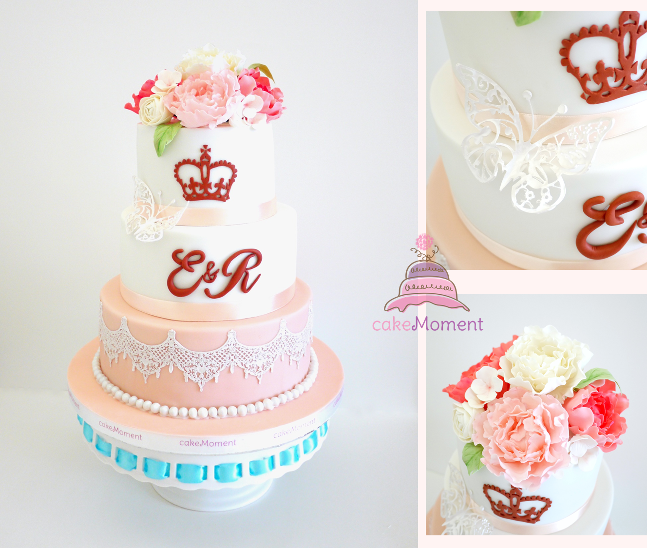 Pink White Flower wedding cake For order enquiry, please email to ...