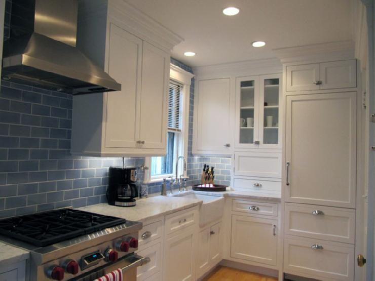 Kitchens Glossy Blue Glass Tiles Backsplash White Shaker
