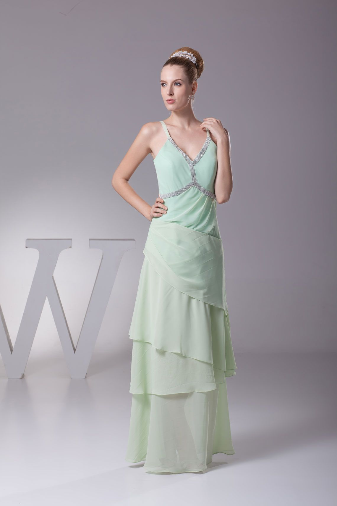 Mint floorlength vneck aline chiffon sleeveless prom dress prom