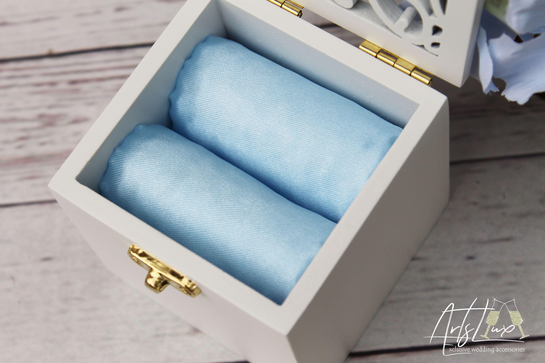 Wedding ring box-White/&Cool Blue wedding ring holder-Wooden Ring Bearer box-Whorls box-Proposal ring box-Engagement ring box-Something blue