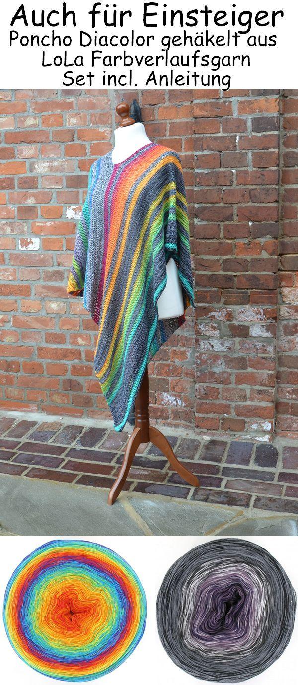 Photo of Poncho im Layered-Look mit einem interessanten diagonalen Farbverlauf aus zwei Bobbel LoLa F …