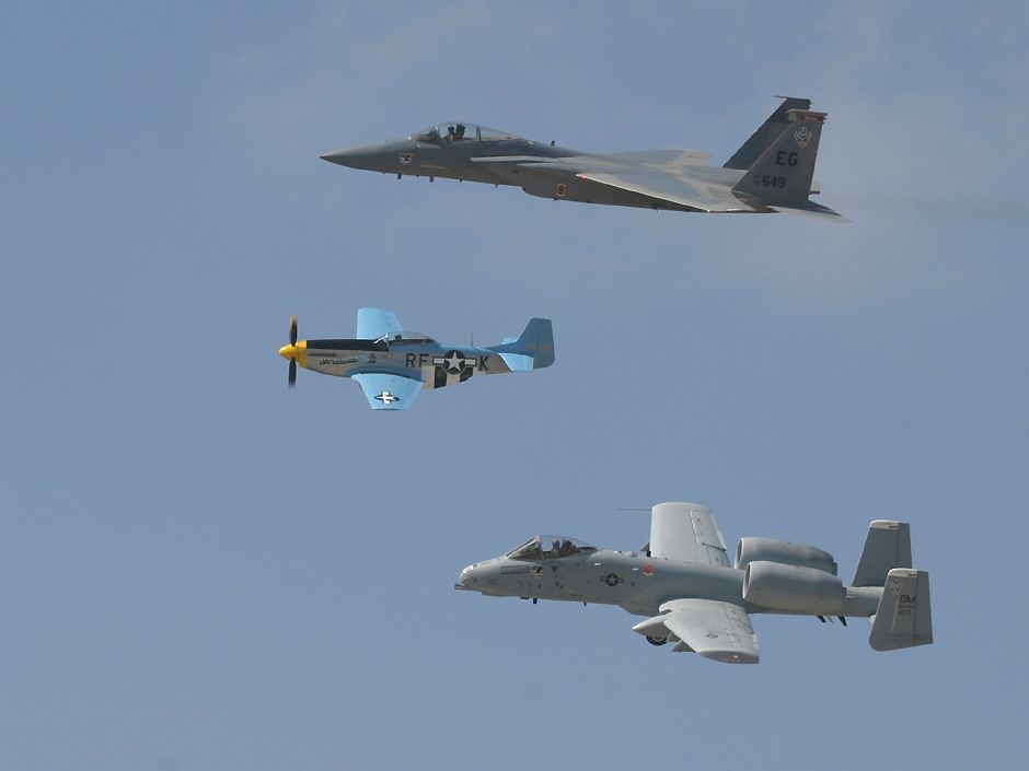 A10 Thunderbolt, Eagle F15 and a Mustang P51