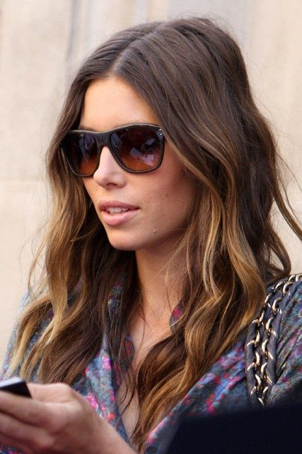 jessica biel, balayage highlights, ombre
