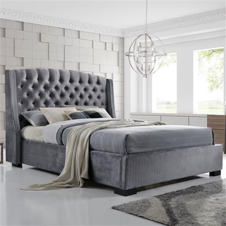 Brando Double Fabric Bed Frame, Grey | Beds | Pinterest