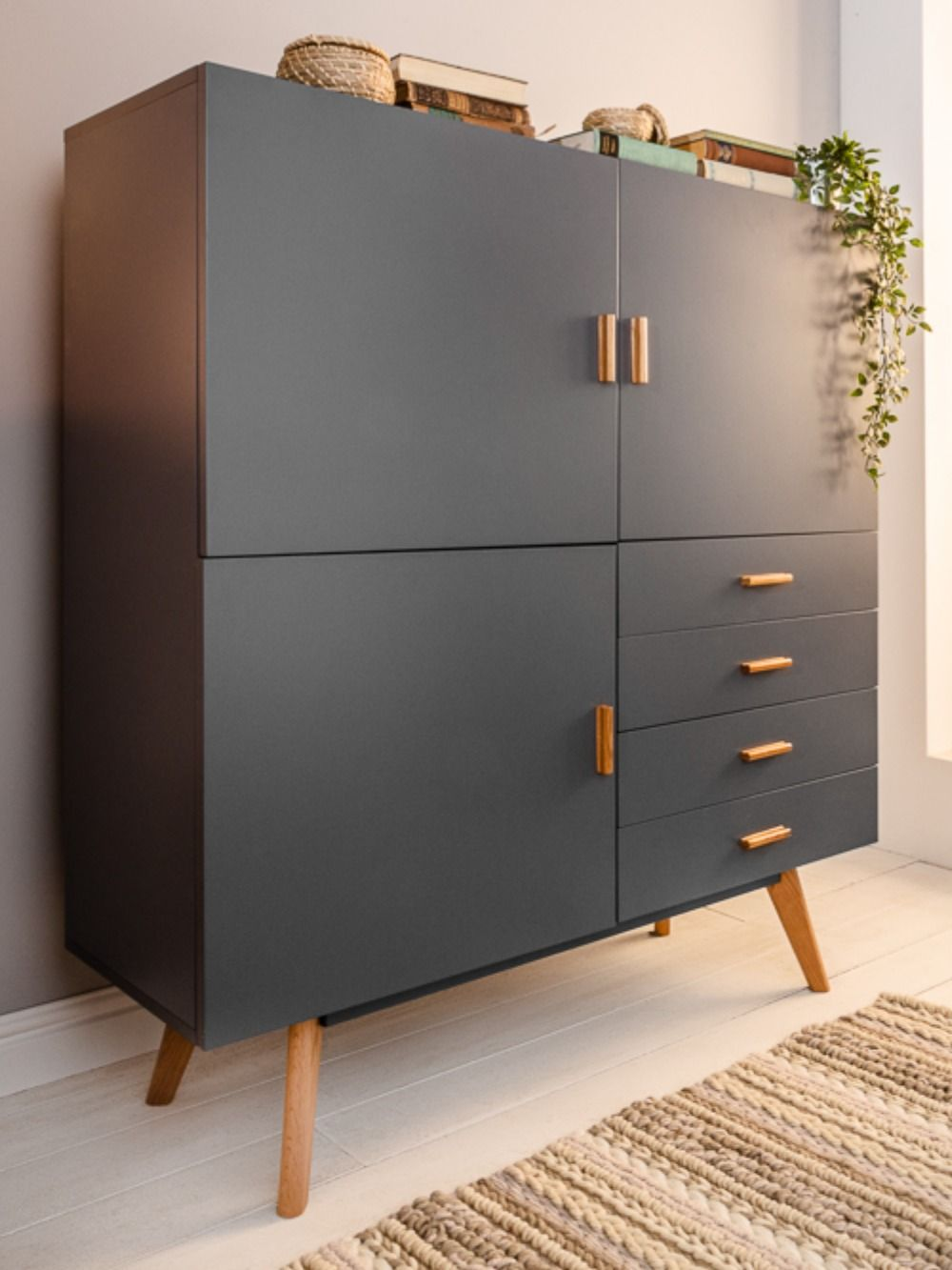 Photo of Design Highboard SCANDINAVIA MEISTERSTÜCK 140cm grau Echt Ei