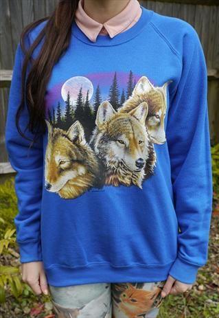 Wildlife Wolves & Forest Moon Jumper, Sweatshirt, Sweater,