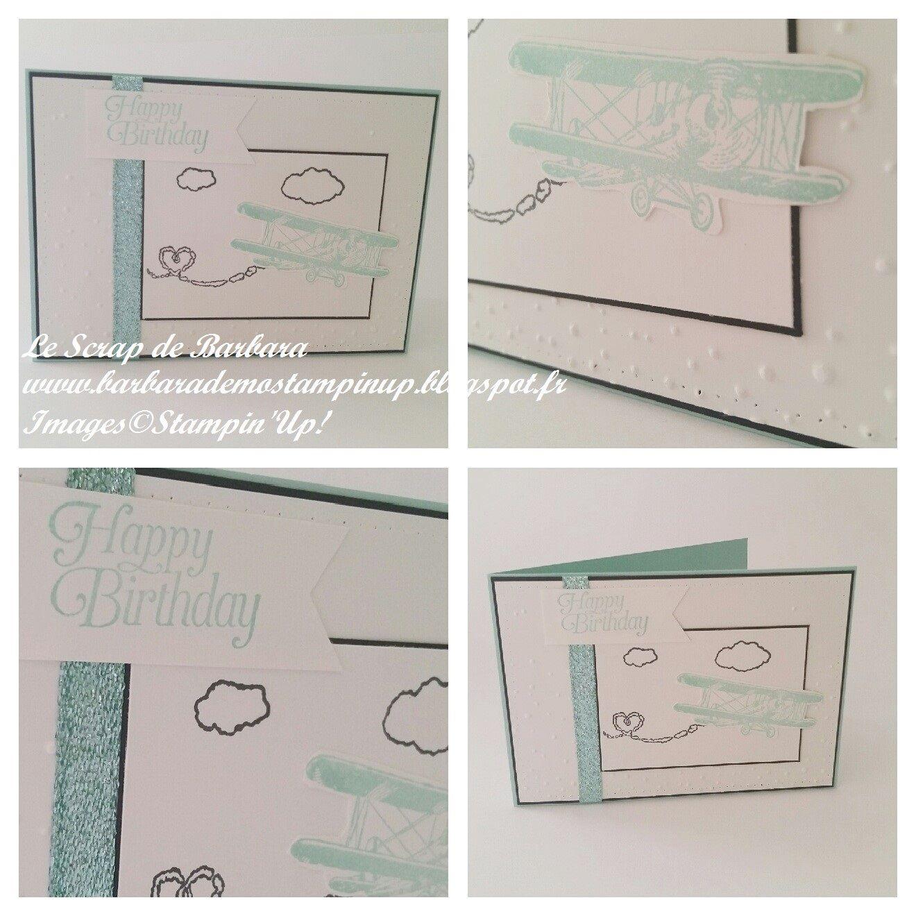 """Le Scrap de Barbara Démonstratrice Stampin'Up: Carte d'anniversaire """"Sky is the limit"""", Sale A Bration"""
